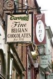 Взгляд магазина шоколада штрафа Carousel бельгийского вверху Ste стоковые фотографии rf