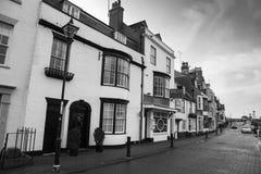 Взгляд магазинов в старом районе гавани, Weymouth, Дорсета, Англии, Великобритании, 26-ое декабря, стоковая фотография