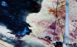 Взгляд макроса картины текстуры яшмы минеральный каменный Компосит microgranular кварца и халцедона, желтого цвета голубой чернот Стоковые Изображения RF