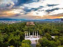 Взгляд Мехико - Chapultepec панорамный - заход солнца Стоковые Изображения
