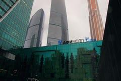 Взгляд мола Afi мола в комплексе ` города Москвы ` делового центра на день зимы снежный стоковое фото rf