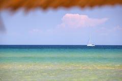 Взгляд моря на пляже банана, острове Zakynthos Стоковая Фотография
