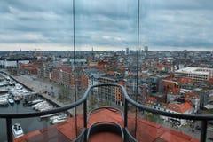 Взгляд над Антверпеном принятым от вершины музея mas через окно Стоковые Фотографии RF