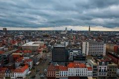 Взгляд над Антверпеном принятым от вершины музея mas Стоковое фото RF