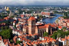 Взгляд над городом Гданьска в Польше Стоковая Фотография RF