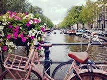 Взгляд над каналами Амстердама, нидерландское †«июль 2017 стоковое изображение rf