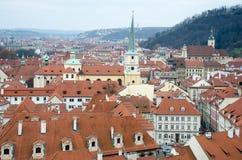 Взгляд над Прагой от холма Стоковые Фото