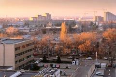 Взгляд над районом Pipera, делом и промышленной городской местностью в непрерывных развитии и расширении Стоковая Фотография RF