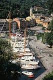 Взгляд над Portofino, старым Ligurian городком Стоковая Фотография RF