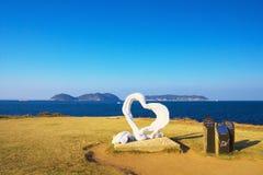 Взгляд накидки Hado с объектом сердца в Karatsu, Японии Стоковая Фотография RF