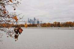 Взгляд на башнях города в осени Стоковые Изображения RF