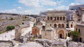 Взгляд на Белых Домах города Matera стоковая фотография rf