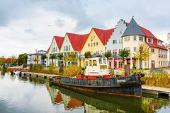 Взгляд на гавани города Wolgast, Германии стоковые изображения rf