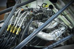Взгляд на задней части кабины тележки гонок и оборудовании шасси различном разделяет детали Гонки рамки оборудования и вольфрамок Стоковая Фотография RF
