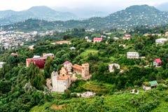 Взгляд на замке на зеленых холмах, Батуми, Georgia Стоковая Фотография