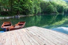 Взгляд на зеленой воде и вечнозеленом лесе на озере Biogradskoe от деревянной пристани Национальный парк Biogradska Gora Черногор стоковые фото