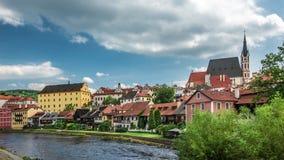 Взгляд на историческом центре Cesky Krumlov европа Стоковая Фотография RF