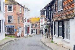 Взгляд на малой улице в Rye, Сассекс, Великобритании иллюстрация штока