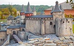 Взгляд на миниатюрной модели старого средневекового замка Kamianets-Podilskyi Стоковое фото RF
