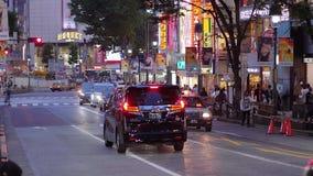 Взгляд на ноче - занятый район улицы Shibuya в ТОКИО/ЯПОНИИ - 12-ое июня 2018 Токио акции видеоматериалы