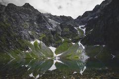 Взгляд на озере Czarny Staw в горах Tatra с пиком Rysy в предпосылке стоковое изображение
