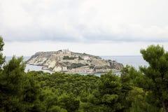 Взгляд на острове Сан Nicola от леса сосен на острове домино Сан, архипелаге Tremiti r стоковые изображения rf