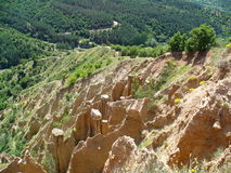 Взгляд на пирамидках Stobski, Бугарске Стоковые Фото