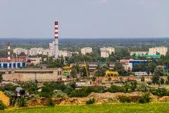 Взгляд на промышленном районе в городе Kremenchug Стоковое Фото
