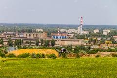 Взгляд на промышленном районе в городе Kremenchug Стоковая Фотография RF