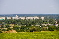 Взгляд на промышленном районе в городе Kremenchug Стоковое фото RF