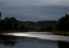 Взгляд на реке и лесах в лете все еще выравниваясь с светлым отражением в воде Стоковая Фотография RF