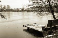 Взгляд на стенде и footbridge в зиме приправляют в черно-белом sepia, Любляне, Словении Стоковое Фото
