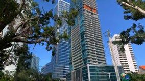 Взгляд на улице города на предпосылке небоскребов в Майами акции видеоматериалы