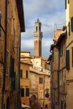 """Взгляд на Torre del Mangia от средневековой узкой улочки через Sant """"Agata Сиена Италия стоковые изображения rf"""