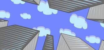 Взгляд небоскребов от пешеходного обзора иллюстрация вектора