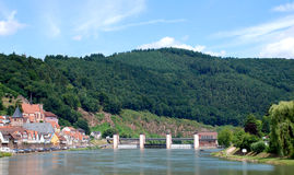 Взгляд немецкого городка от реки Neckar Стоковое Фото