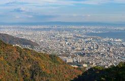 Взгляд нескольких японских городов в области Kansai от Майя Mt maya Стоковая Фотография