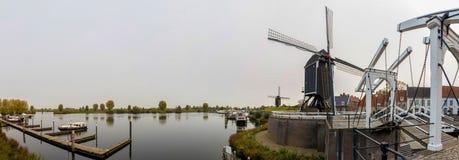 Взгляд нидерландского высокого определения Heusden панорамный стоковые фотографии rf