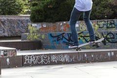 Взгляд низкого угла фокусов скейтборда Стоковое Изображение RF