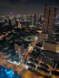 Взгляд ночи Бангкока от верхней части стоковая фотография rf