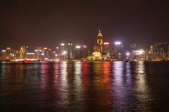 Взгляд ночи гавани Виктории в Гонконге стоковое фото