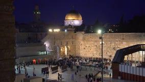 Взгляд ночи голося стены в Иерусалиме акции видеоматериалы