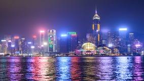 Взгляд ночи Гонконга, Китая Стоковое Изображение