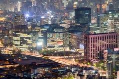 Взгляд ночи городского пейзажа Сеула городского Стоковая Фотография RF
