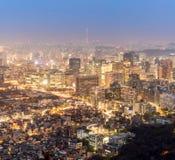 Взгляд ночи городского пейзажа Сеула городского Стоковое фото RF