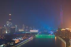 Взгляд ночи Гуанчжоу Китая стоковые изображения rf