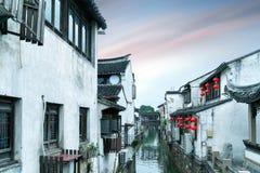 Взгляд ночи древнего города Сучжоу стоковое изображение