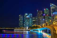 Взгляд ночи залива Марины, Сингапура Стоковые Фото