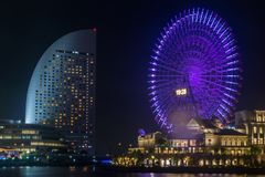 Взгляд ночи Иокогама в Японии Стоковая Фотография RF