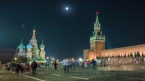 Взгляд ночи красной площади Москвы, мавзолея здания Ленина и правительства России акции видеоматериалы